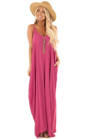 Berry Sleeveless Cocoon Maxi Dress with Side Pockets front full body