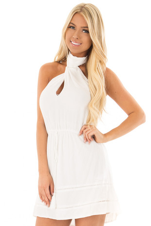 White High Neck Halter Dress with Waist Tie front close up