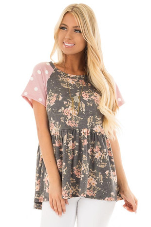 Charcoal Floral Print and Polka Dot Babydoll Top front close up