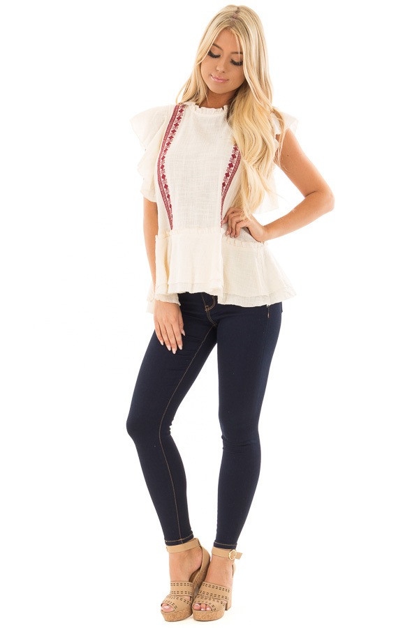 Cream Ruffle Top with Embroidery Detail front full body