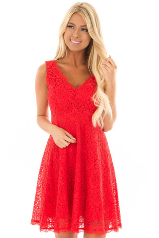 Lipstick Red V Neck Lace Dress front close up