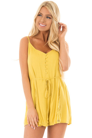 Mustard Button Up Romper with Waist Tie and Lace Detail front close up