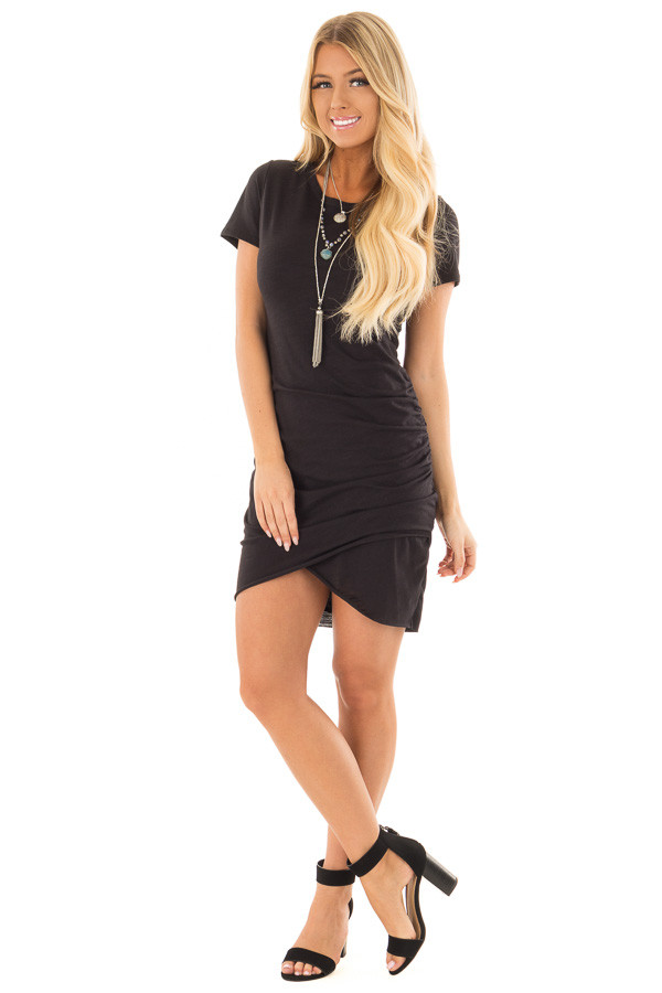 Black Short Sleeve T Shirt Dress with Side Ruching front full body