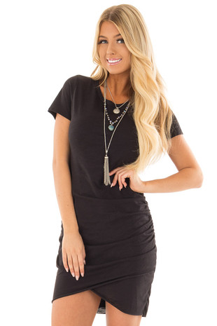Black Short Sleeve T Shirt Dress with Side Ruching front close up