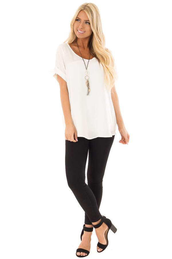 Ivory Cuffed Short Sleeve V Neck Top front full body