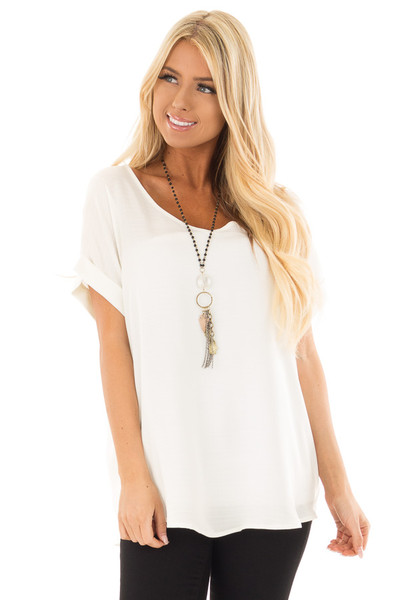 Ivory Cuffed Short Sleeve V Neck Top front close up