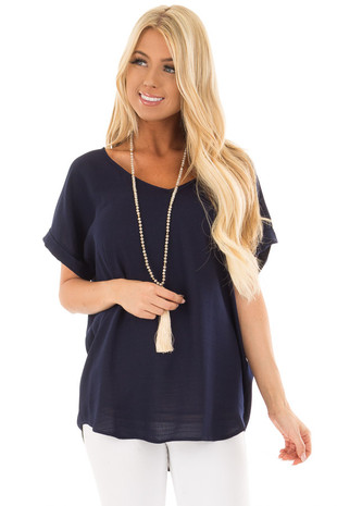 Navy Cuffed Short Sleeve V Neck Top front close up