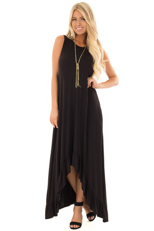 Black Sleeveless High Low Maxi Dress with Ruffle Hem front full body