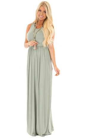 Light Sage Sleeveless Maxi Dress with Side Pockets front close up