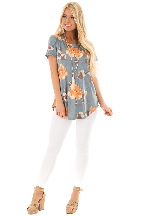 Denim Blue Floral Print Top front full body