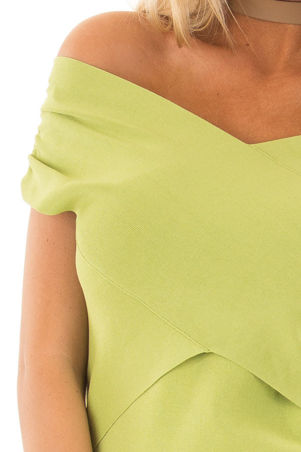 Lime Green Cross Wrap Style Top detail