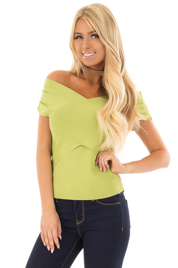 Lime Green Cross Wrap Style Top front close up