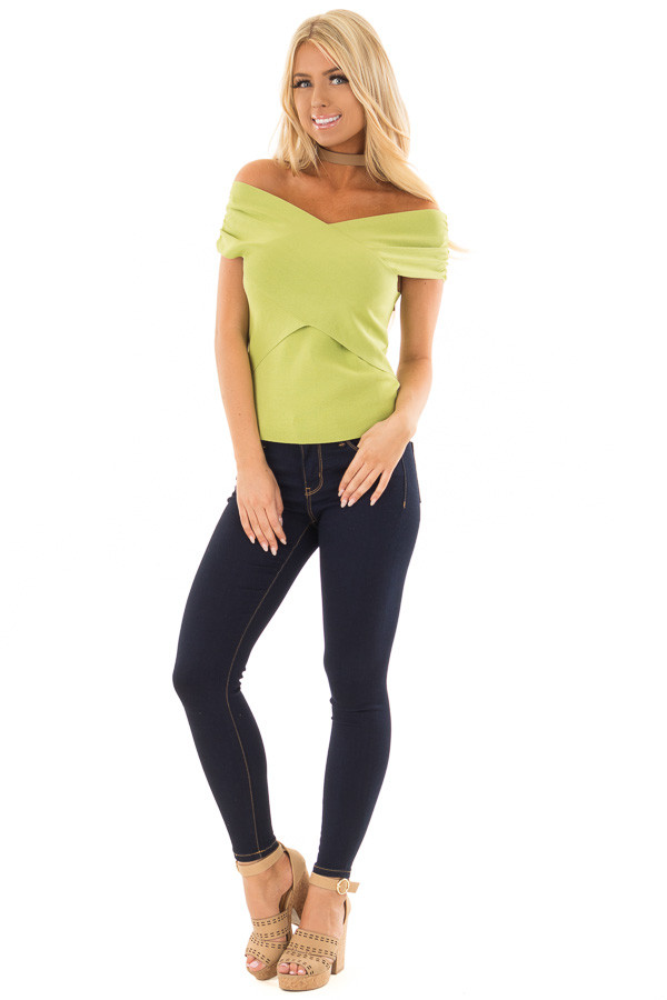 Lime Green Cross Wrap Style Top front full body