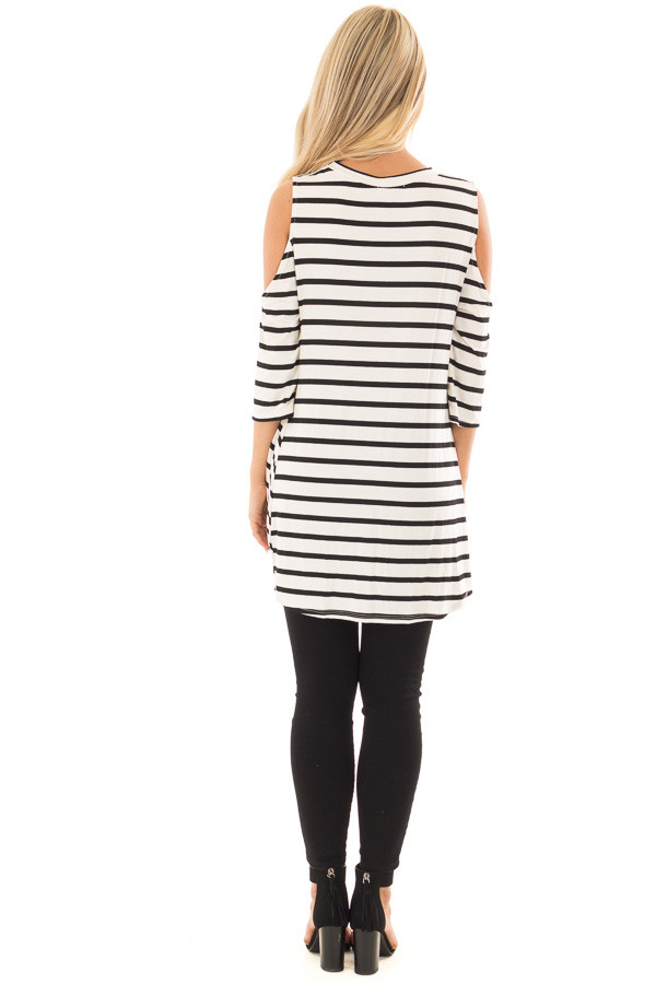 Black and White Striped Cold Shoulder Top with Chest Cutout back full body