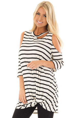 Black and White Striped Cold Shoulder Top with Chest Cutout front close up