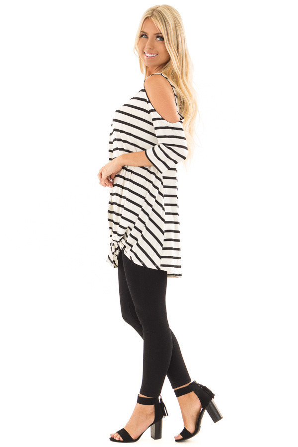 Black and White Striped Cold Shoulder Top with Chest Cutout side full body