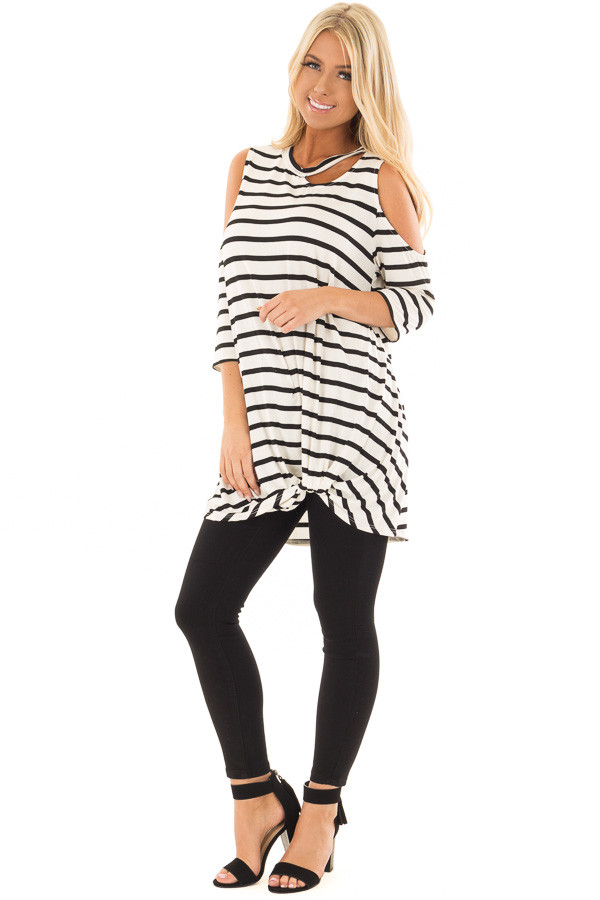 Black and White Striped Cold Shoulder Top with Chest Cutout front full body
