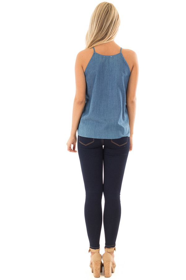 Denim Tank Top with Embroidery Detail back full body