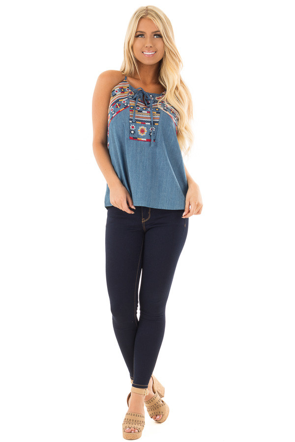 Denim Tank Top with Embroidery Detail front full body