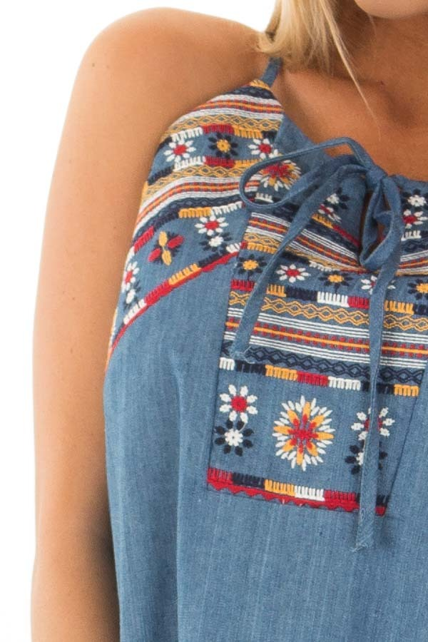 Denim Tank Top with Embroidery Detail detail