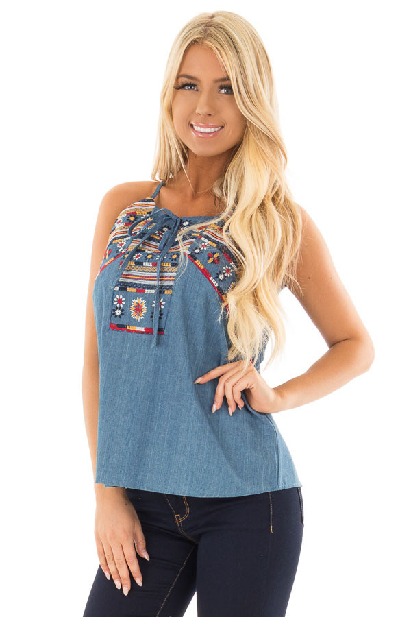 Denim Tank Top with Embroidery Detail front close up
