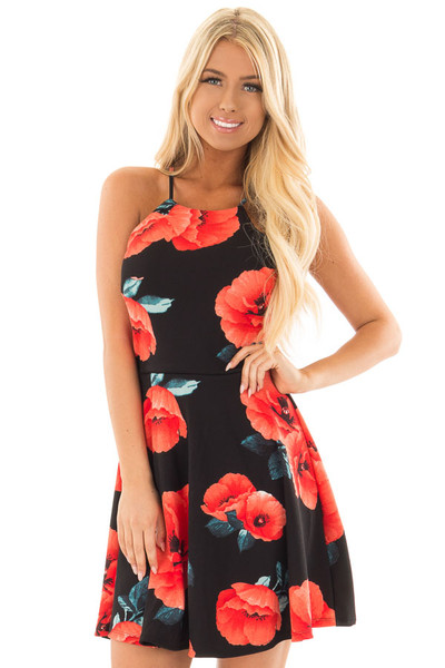 Black Floral Print Spaghetti Strap Dress front close up