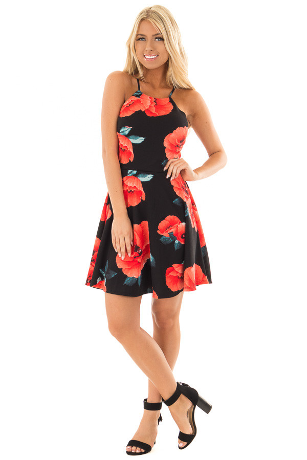 Black Floral Print Spaghetti Strap Dress front full body