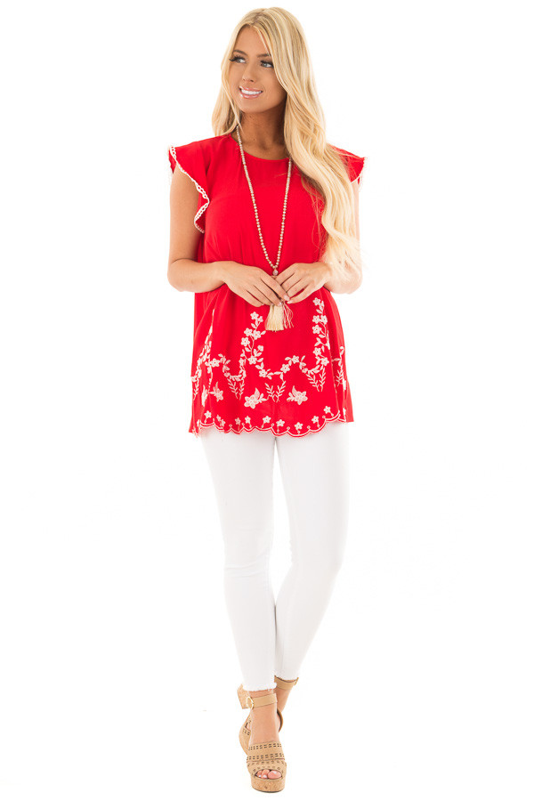 Cherry Red Top with Embroidery Detail front full body