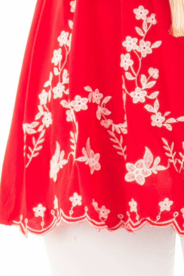 Cherry Red Top with Embroidery Detail detail