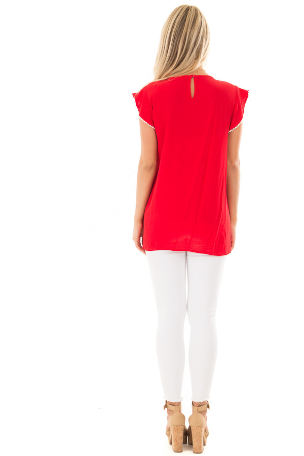 Cherry Red Top with Embroidery Detail back full body