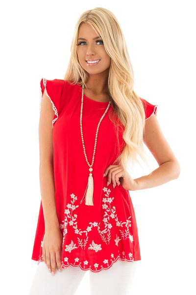 Cherry Red Top with Embroidery Detail front close up