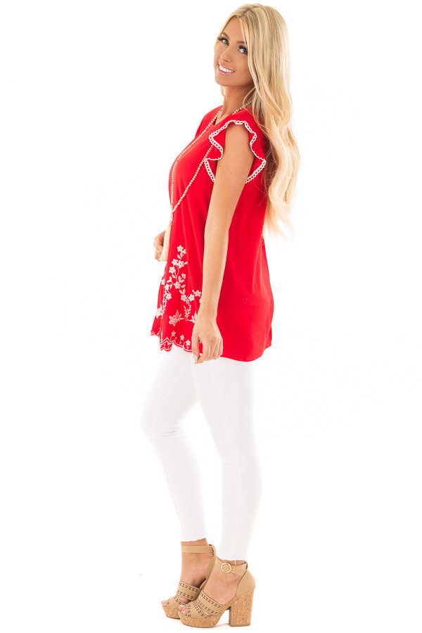 Cherry Red Top with Embroidery Detail side full body