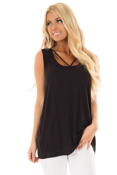 Black Bamboo Fabric V Strap Neckline Tank Top front close up