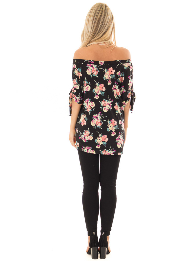 Black Floral Print Boat Neck Slinky Top with Tie Details back full body