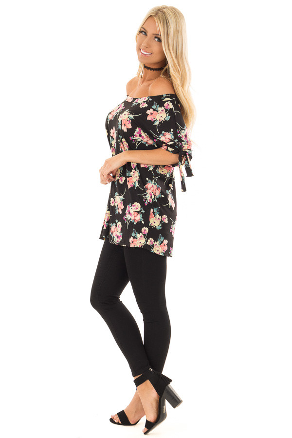 Black Floral Print Boat Neck Slinky Top with Tie Details side full body