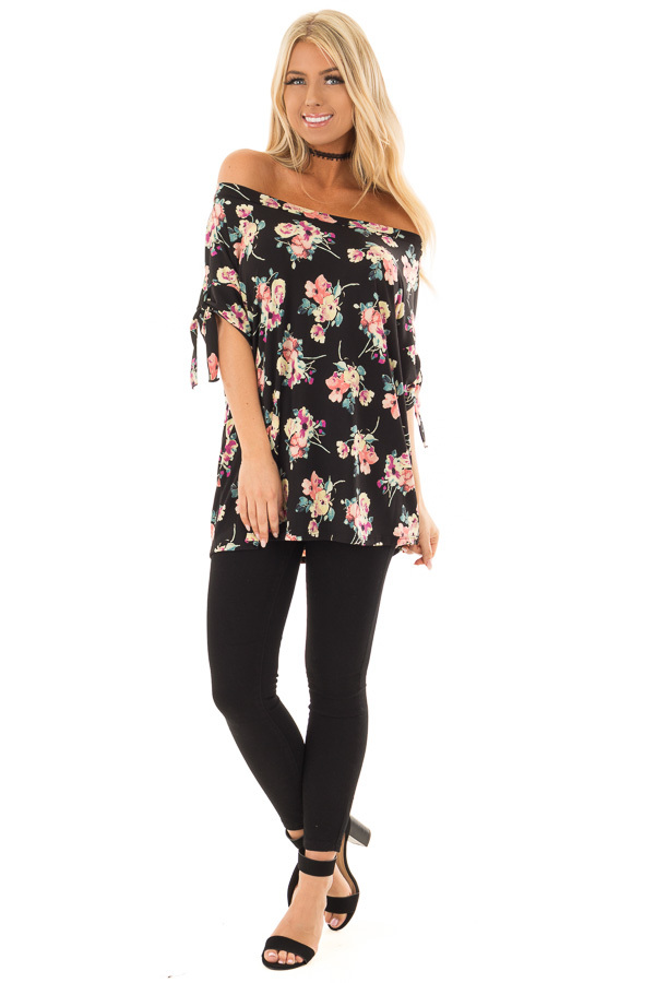 Black Floral Print Boat Neck Slinky Top with Tie Details front full body