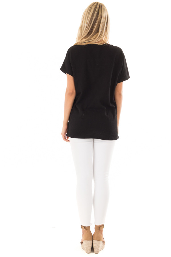 Black Short Sleeve Top with Sheer Braided Details back full body