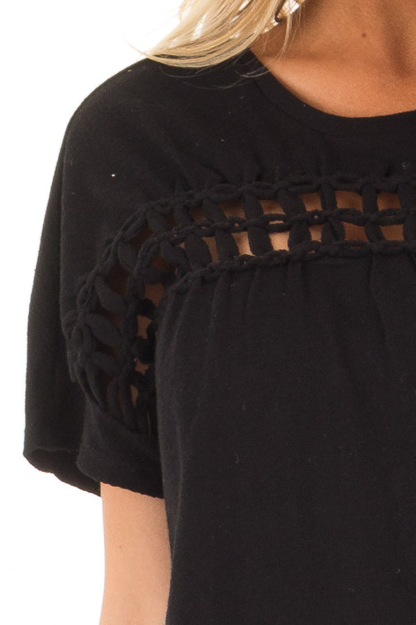 Black Short Sleeve Top with Sheer Braided Details detail