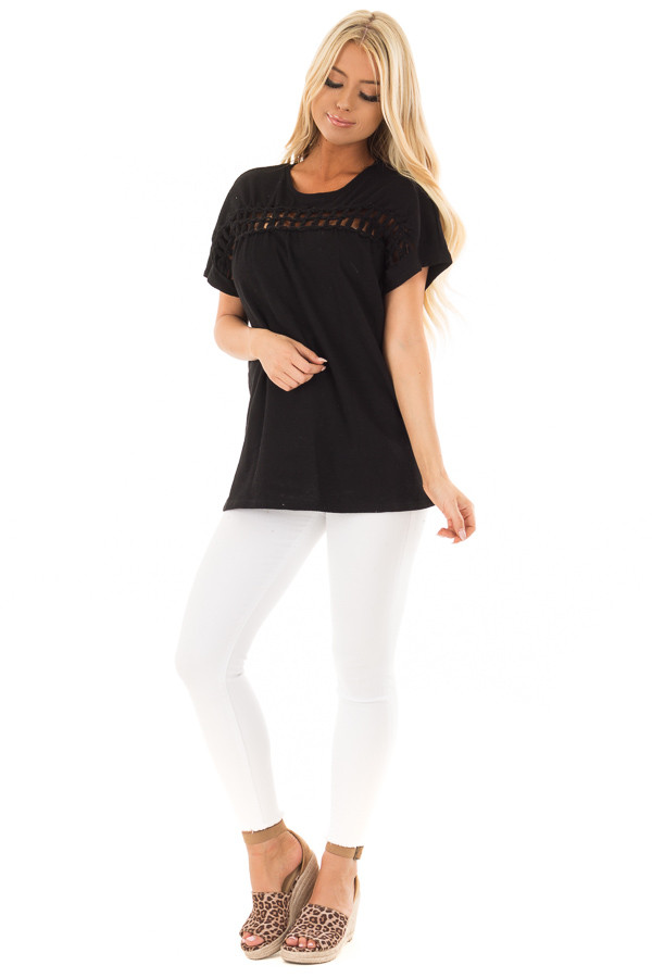 Black Short Sleeve Top with Sheer Braided Details front full body
