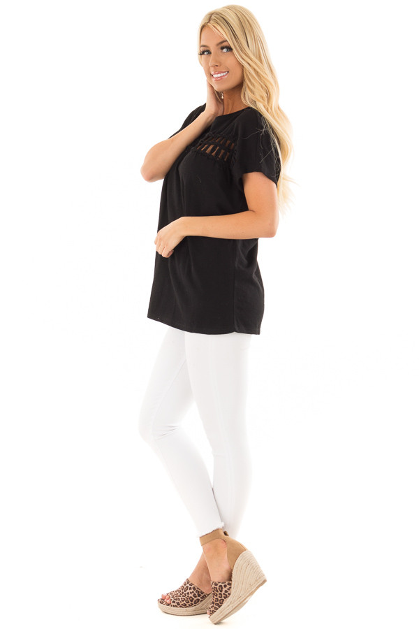 Black Short Sleeve Top with Sheer Braided Details side full body