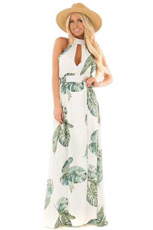 Ivory Tropical Leaf Print Maxi Dress front full body