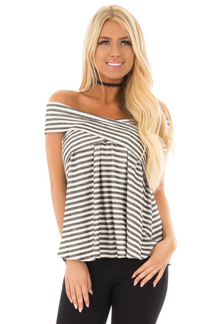 Black and Off White Striped Crossover Off Shoulder Top front close up