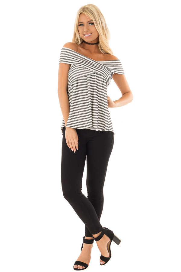 Black and Off White Striped Crossover Off Shoulder Top front full body