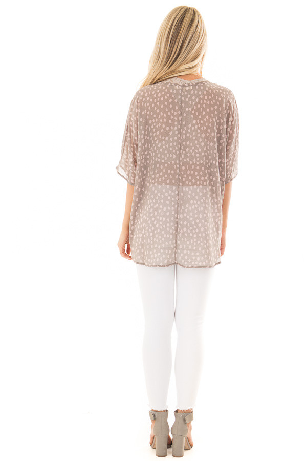 Stormy Grey and Blush Spotted Chiffon Dolman Top back full body