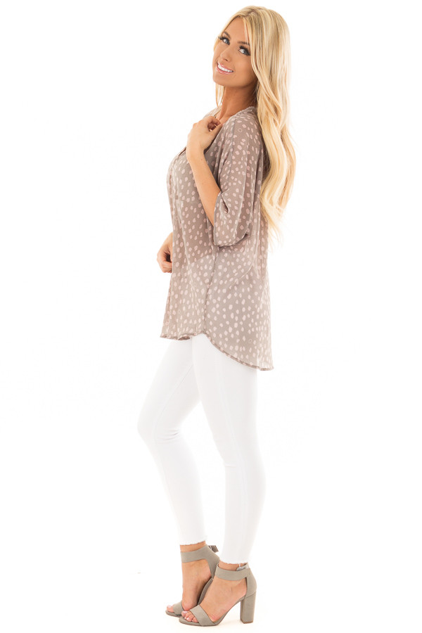 Stormy Grey and Blush Spotted Chiffon Dolman Top side full body