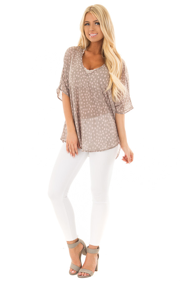Stormy Grey and Blush Spotted Chiffon Dolman Top front full body
