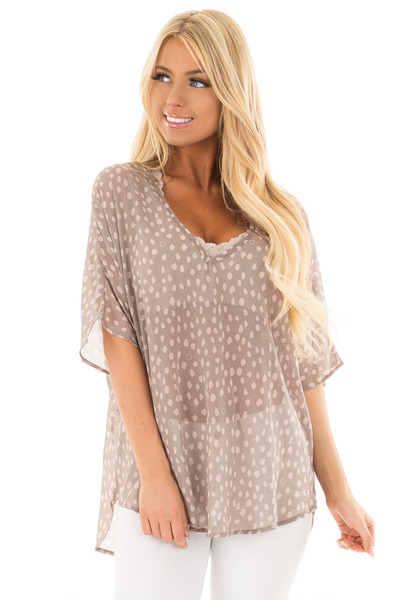 Stormy Grey and Blush Spotted Chiffon Dolman Top front close up