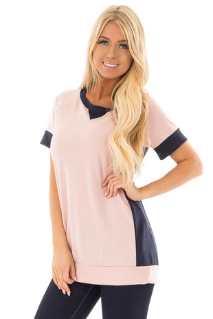 Light Pink and Navy Color Block Top front full body