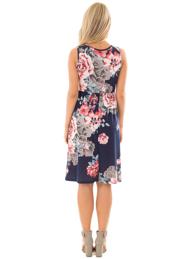 Navy Floral Print Dress with Hidden Pockets back full body