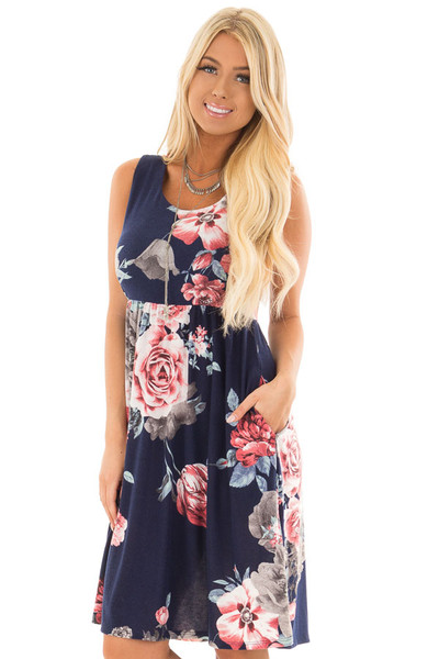 Navy Floral Print Dress with Hidden Pockets front close up